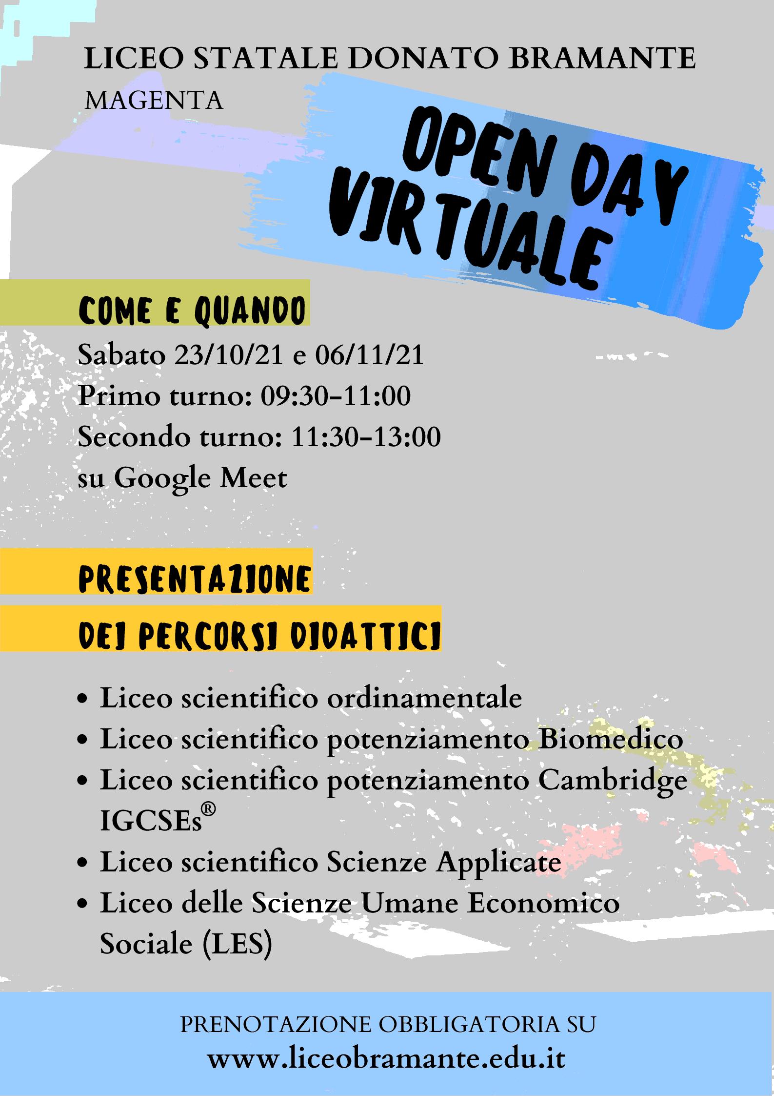Locandina Open Day virtuale